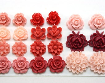 22 pcs Resin Flower Cabochons Assorted Sizes Sampler Pack - February Hearts