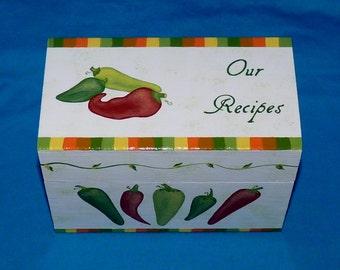 Decorative Wood Recipe Box Wedding Recipe Card Holder Hand Painted Personalized Wooden Chili Pepper Recipe Box 4x6 Gift