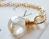 Golden Rutilated Quartz Necklace / 14K Gold Fill / SimplyJoli / Wire Wrapped / Golden Needles