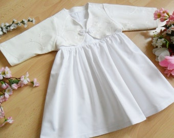 Short Christening gown with bolero, dress 100% cotton varioussizes