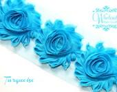 Shabby Flowers - TURQUOISE Shabby Rose Trim - Shabby Chic - Shabby Flower Trim - Wholesale Shabby Flowers - DIY Flowers
