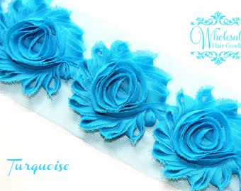 Shabby Flowers - TURQUOISE Shabby Rose Trim - Shabby Chic - Shabby Flower Trim - Wholesale Shabby Flowers - DIY Flowers