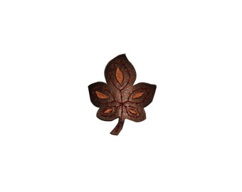 ID #7129 Brown Pleather Leather Leaf Flora Iron On Embroidered Patch Applique