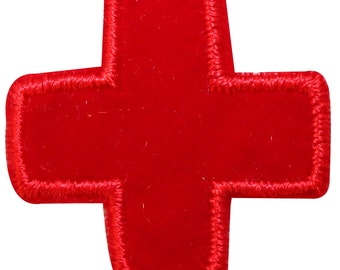 ID #9188 Red Cross Life, Health, & First Aid Symbol Icon Iron On Applique Patch