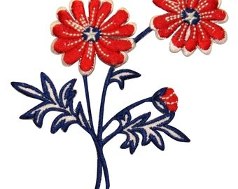 ID #1085 Flower Patriotic America Plant Daisy Embroidered Iron On Badge Applique Patch