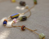 VENISE necklace - gold brass and colored beads