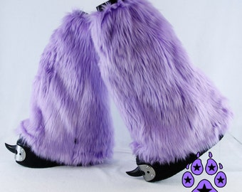 PAWSTAR Furry Leg Warmers boot Covers Fluffies YOU Pick Color Pastel Lavender Purple Teal rave cyber cosplay anime rave costume goth 2501
