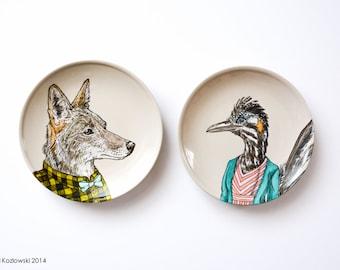 Opposites Attract - Mrs. Roadrunner & Mr. Coyote Dinner Plates - Set of 2