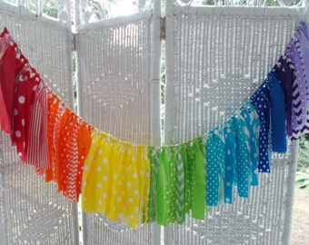 Rainbow Fabric Garland- Birthday, Classroom decoration,nursery