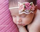 Baby Headband, Newborn Headband, Blush Headband, Newborn Photo Prop, Baby Girl Headband, Dainty Headband
