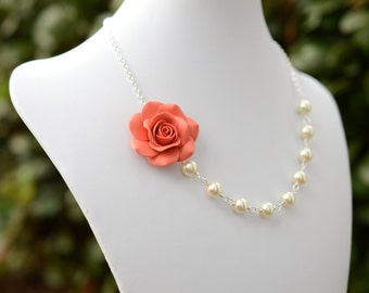 FREE EARRINGS,Coral Rose Necklace, Coral Flower Necklace, Summer Necklace, Bridesmaid Jewelry, Bridal Jewelry