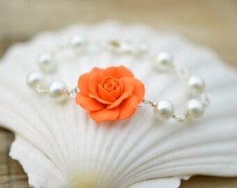 Orange Rose and Pearls Bracelet, Orange Flower Bracelet.