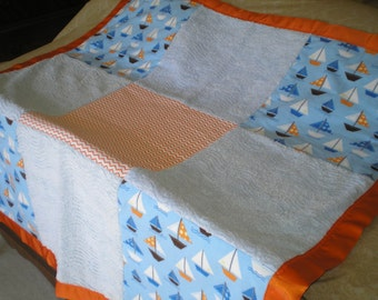 orange and blue sailboat baby boy chenille blanket - Chenille Blanket