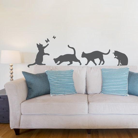 Cats Wall Art Decal Cat Wall Sticker Cat Lover Decor Cat