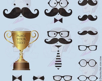 Mustache Fathers Day Baby Shower Birthday Party Cute Moustache Face Grandfather Digital Clipart Spectacles Glasses Trophy Vector Files 10315