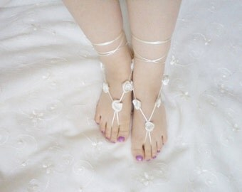 Wedding Shoes Sandals Ivory barefoot sandals nude shoes barefoot sandals foot jewelry flowers girl gifts Bridal Shoes