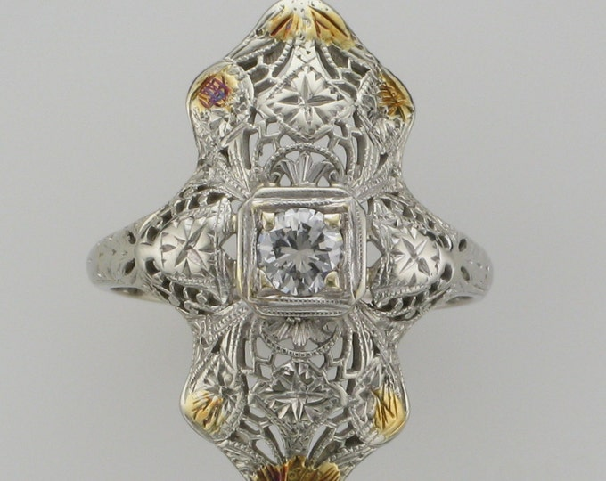Diamond Filigree Ring; Edwardian Diamond Filigree Ring; White Gold Ring with Yellow Gold Accents; Antique Ring; Antique Cocktail Ring