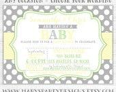 Yellow Green Gray Chevron Polka Dots Baby Shower Gender Reveal Invitation Invite Neutral Lime Twin Pink - Digital Printable PDF JPEG