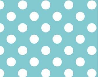 Medium Dots Aqua by Riley Blake Designs 1 Yard Cut - Dots Fabric