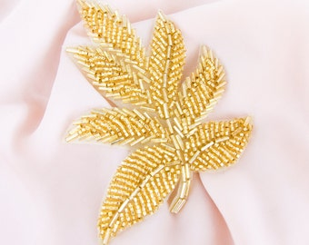 Gold Beaded Applique, Gold Applique, Gold Leaf Applique (1 piece) Sash Head Piece Wedding Bridal DIY Dance Skating Costume Headband Applique