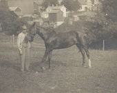 For Sale as Pictured - Antique 1910s Man and Horse Silver Gel Real Photo Postcard