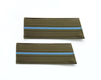 Vintage Russian Army Shoulder Boards, Military Epaulettes, Green with Blue Stripe