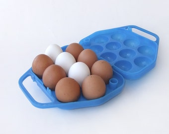 Vintage Blue Egg Basket, Plastic Storage Box for 10 Eggs, Kitchen Container