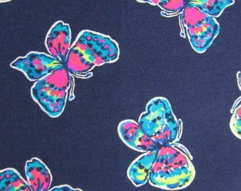 Navy I've Got Butterflies Textured Cotton Blend 15.5 X 18 inches  ~Lilly Pulitzer~