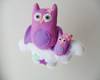 Cloud mobile with mother owl and baby owl - felt mobile - baby mobile, nursery decor - owl mobile