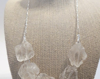 Clear Rock Crystal Quartz Nuggets Rough Tumbled Handmade Silver Strand Necklace Gemstones Glass Fashion Gift under 50