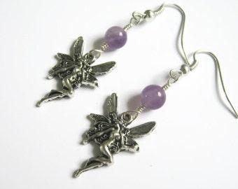 Fairy Earrings, Amethyst Quartz Earrings, Nature Jewelry, Woodland Earrings, Pixie Earrings, Nymph Jewelry, Purple and Silver