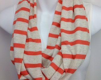 Oatmeal cream and orange striped infinity scarf