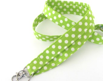 Fabric ID Badge Lanyard Key Holder Teacher Gift / Nurse Lanyard Women's Lime Green and Cream Polka Dots
