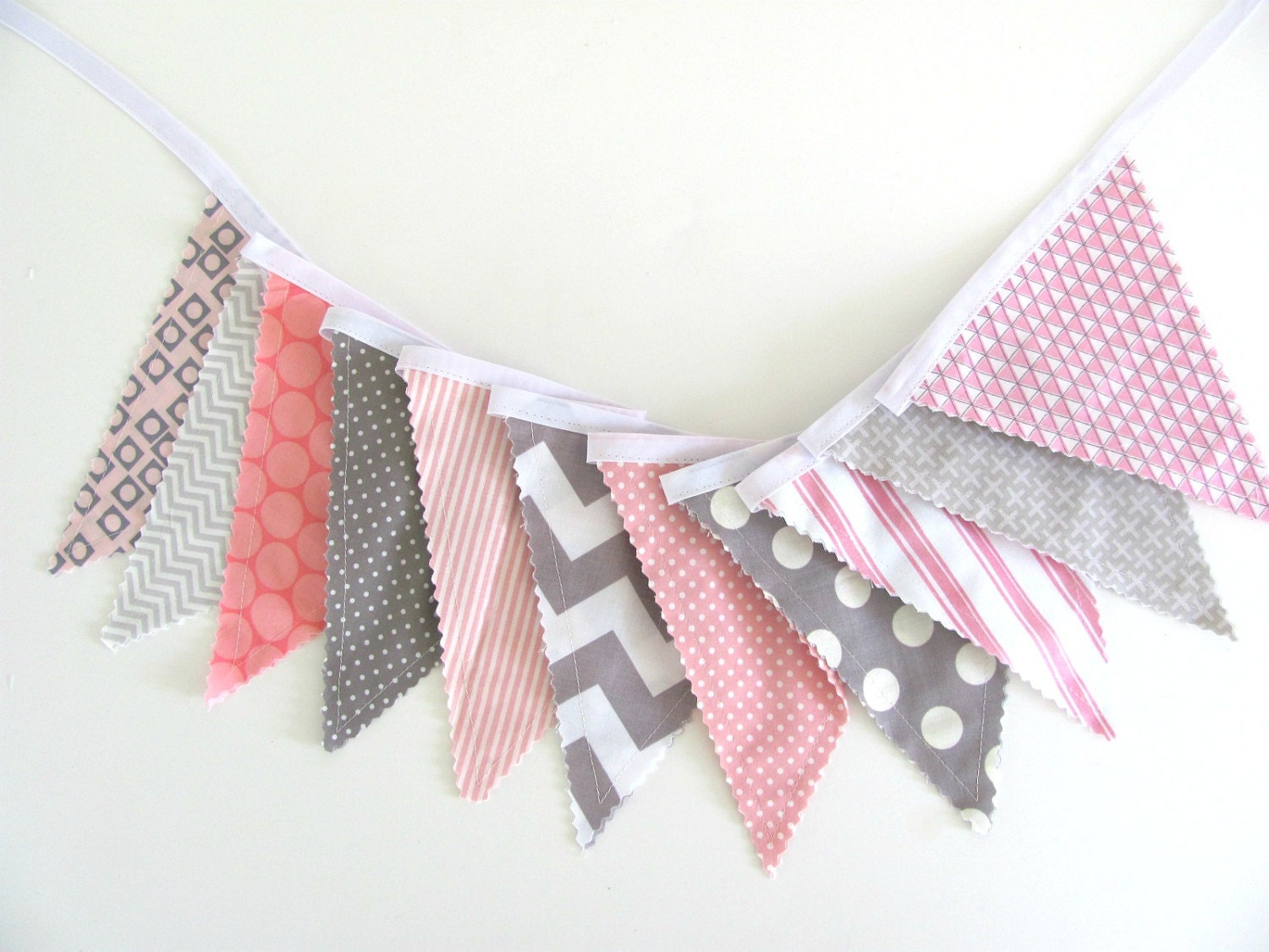 Pink grey fabric bunting banner chevron dots baby by for Pink and grey nursery fabric