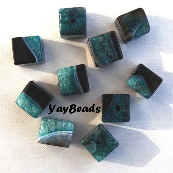 Aqua Green Black Cube Quartz Agate Dyed Focal Beads Qty 3