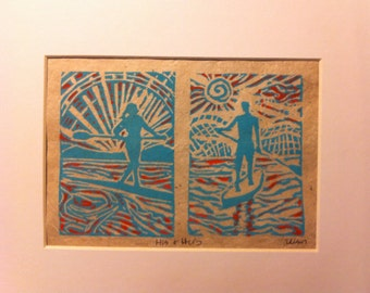 His and Hers 8x10 paddle board print