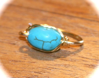 1 Turquoise Belly Button Ring, Belly Button Ring, 14k Gold Filled Belly Button Hoop,