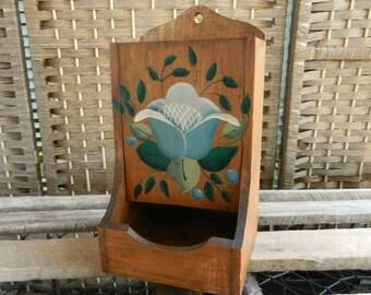 Vintage Wooden Tole Painted Match Safe