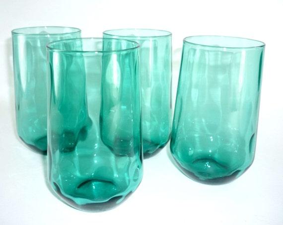 Aqua Tumblers Teal Drinking Glasses Set Of 4 Vintage