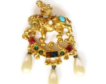 Vintage Kenneth Jay Lane Renaissance Jeweled Lion, Cherub with Lyre Brooch Pendant
