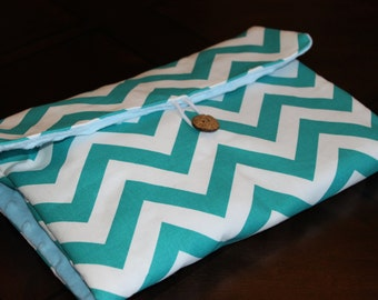 Turquoise CHEVRON and Blue MINKY DOT Diaper Changing Pad with Pocket