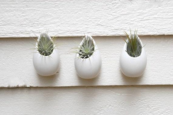 Items Similar To Set Of 3 Mini Matte White Ceramic Hanging