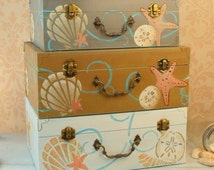 Beach Wedding Card Box, Rustic Wedding, Shabby Chic Wedding Card Box, Box for Cards, Sea Shells, Personalized Quote, LHB