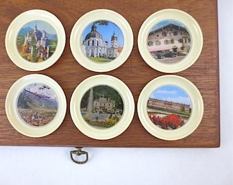 Vintage W. Germany Souvenir Drink Coasters / Set of 6 Plastic Travel Coasters / West German Landmarks Barware