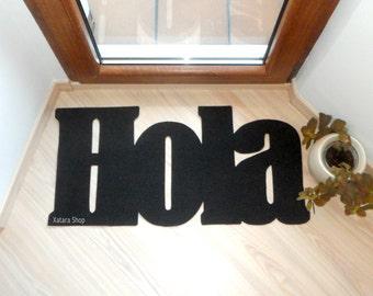 Hola doormat. Hello in Spanish. Welcome mat. Personalized floor mat