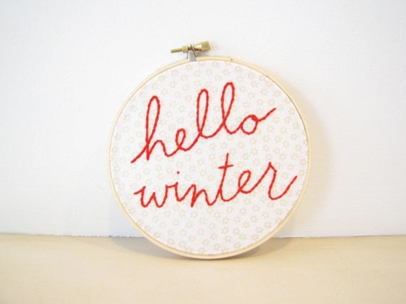Embroidery Hoop Wall Art - Hello Winter - white cream snowflake holiday Christmas red season cozy cabin decor ski lover hand lettering