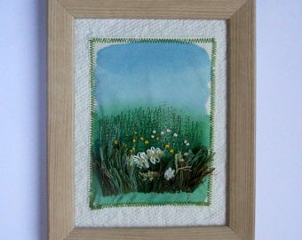 fiber textile art embroidery painting wall hanging fabric picture