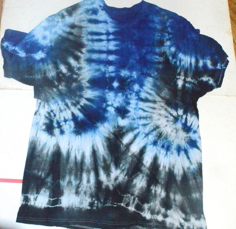 Tye Dye Tie Dyed T Shirt Tee Shirt Xl Extra Large Blue Black