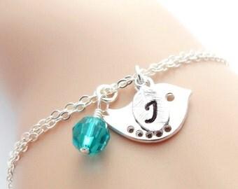 Personalized Bird Bracelet Birthstone Initial Bracelet, New Mom Gift, Mothers Bracelet, Silver Bird Jewelry, Flower Girl, Bridesmaid Gift.