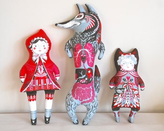 Little Red Riding Hood Tea Towel / Cloth Kit - A silkscreen design by Sarah Young
